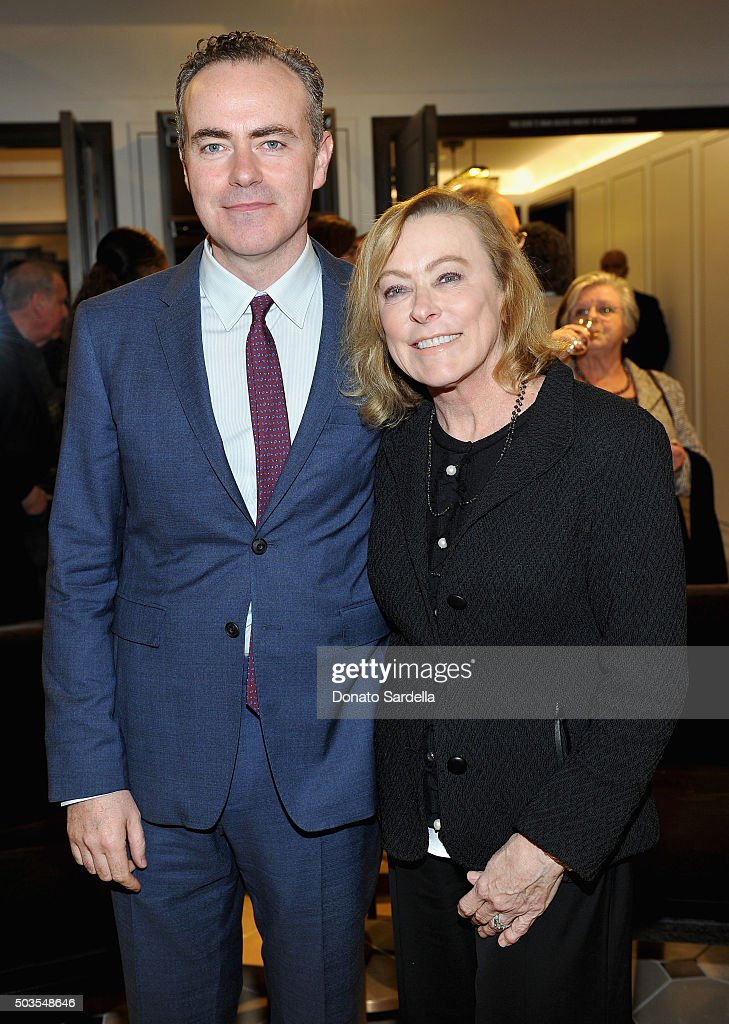 Director John Crowley, wearing Burberry (L) and President, Fox Searchlight Pictures, Nancy Utley at Burberry and Fox Searchlight Pictures honour the cast and filmmakers of 'Brooklyn' at Burberry on January 5, 2016 in Beverly Hills, California.