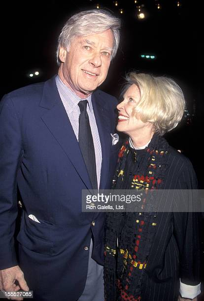 Director John Frankenheimer and wife Evans Evans attend the Reindeer Games Hollywood Premiere on February 21 2000 at El Capitan Theatre in Hollywood...