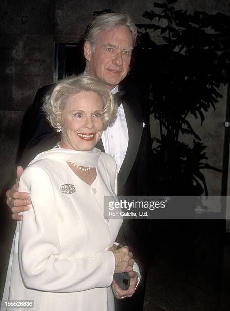 Director John Frankenheimer and wife Evans Evans attends the Opening Celebration of the New Museum of Television and Radio on March 17 1996 at The...
