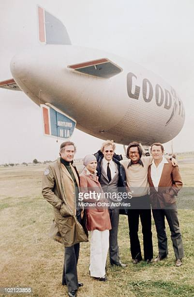 Director John Frankenheimer Marthe Keller Bruce Dern producer Robert Evans and Robert Shaw pose for a portrait on the set of the movie 'Black Sunday'...