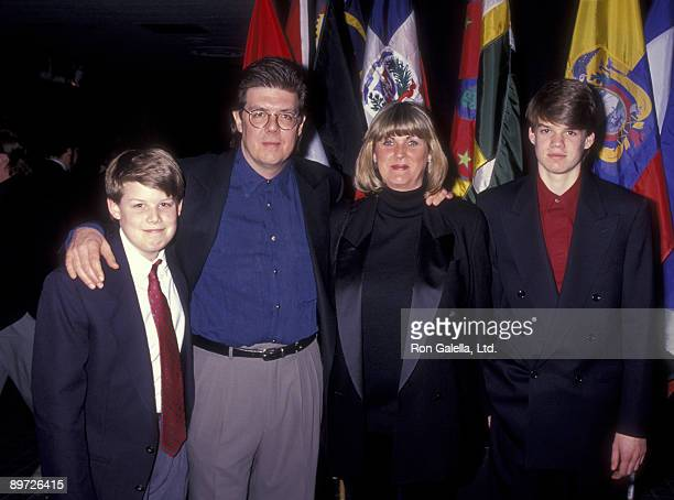Director John Hughes wife Nancy Ludwig and sons John Hughes III and James Hughes attend ShoWest '91 Convention on February 7 1991 at Bally's Hotel...