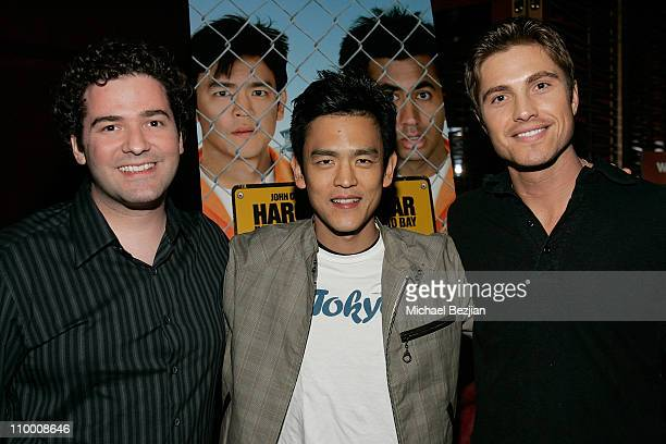 Director John Hurwitz and actors John Cho and Eric Winter attend Midnight Music Wednesdays Harold Kumar Escape from Guantanamo Bay event on April 23...