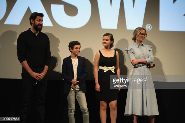 Director John Kransinski, actors Noah Jupe, Millicent Simmonds and Emily Blunt attend the Opening Night Screening and World Premiere of 'A Quiet...
