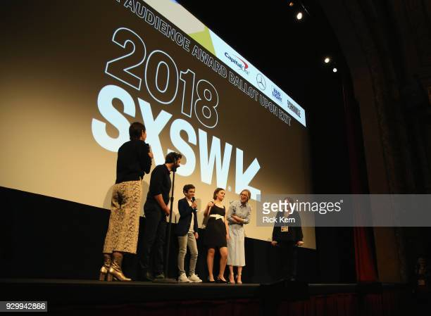 director John Kransinski actors Noah Jupe Millicent Simmonds Emily Blunt and Janet Pierson attend the Opening Night Screening and World Premiere of...
