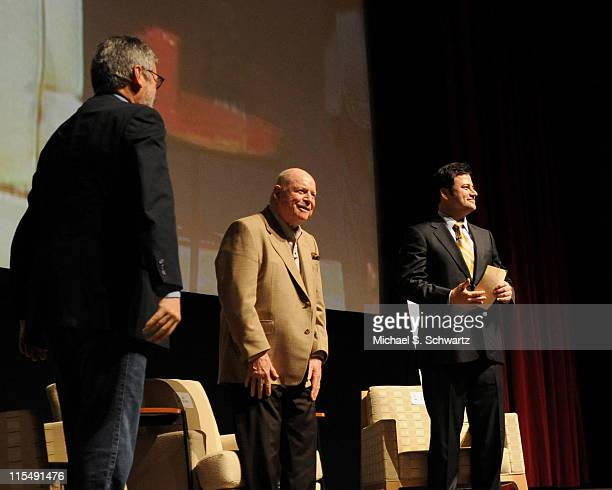 """Director John Landis, Don Rickles and Jimmy Kimmel in a panel discussion at """"A Conversation with 'Mr. Warmth' Don Rickles"""" on April 17, 2008 at the..."""