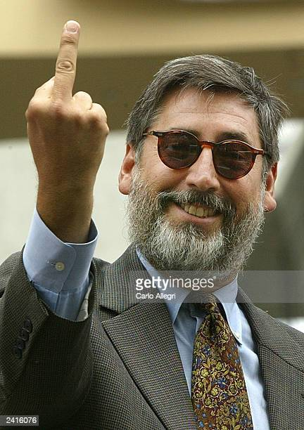 Director John Landis gives the finger to the media at the Animal House 25th anniversary DVD release party and parade on Hollywood Boulevard August 21...