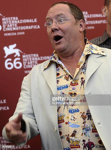 Director John Lasseter poses during the photocall for the Golden Lion for Lifetime Achievement at the Venice film festival on September 6, 2009. The...