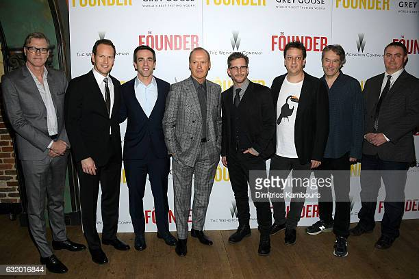 Director John Lee Hancock Patrick Wilson BJ Novak Michael Keaton Robert D Siegel and Jason French attend The Weinstein Company with Grey Goose hosted...