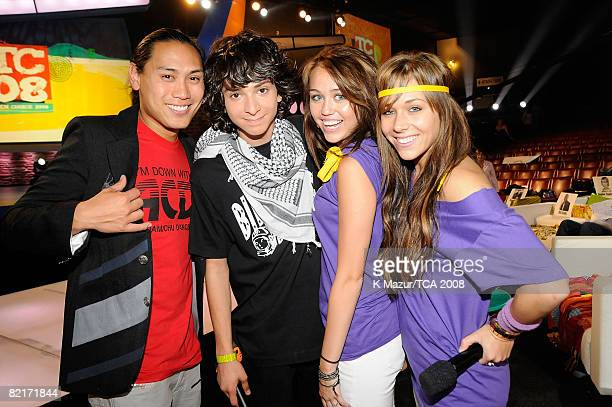 LOS ANGELES CA AUGUST 03 Director John M Chu Adam Sevani host Miley Cyrus and Mandy Jiroux during the 2008 Teen Choice Awards at Gibson Amphitheater...