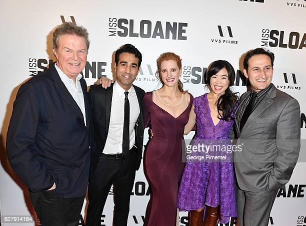 Director John Madden actors Al Mukadam Jessica ChastainGrace Lynn Kung and Raoul Bhaneja attends Miss Sloane Toronto Premiere held at Isabel Bader...