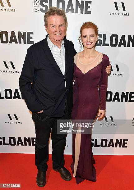 Director John Madden and Jessica Chastain attend Miss Sloane Toronto Premiere held at Isabel Bader Theatre on December 5 2016 in Toronto Canada