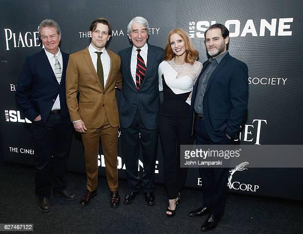 "Director John Madden, Jake Lacy, Sam Waterston, Jessica Chastain and Michael Stuhlbarg attend Cinema Society ""Miss Sloane"" screening at SAG-AFTRA..."