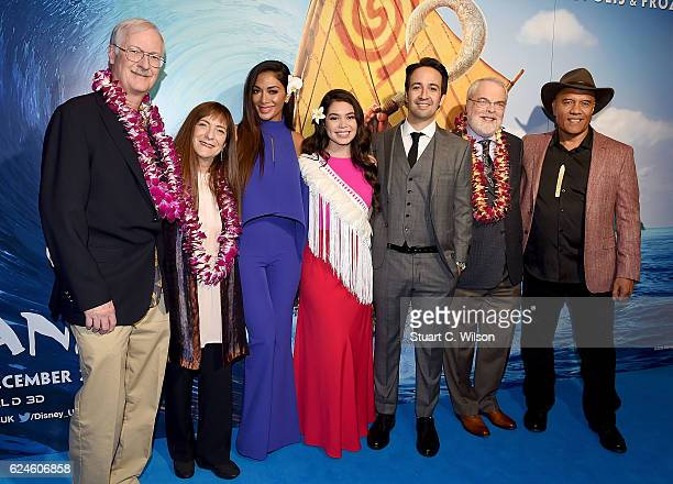 Director John Musker producer Osnat Shurer Nicole Scherzinger Auli'i Cravalho LinManuel Miranda director Ron Clements and Opetaia Foa'i attend the UK...