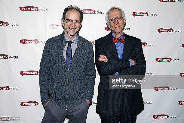Director John Rando and Playwrighrt David Ives attend 'Lives Of The Saints' opening night after party at Casa Nonna on February 24 2015 in New York...