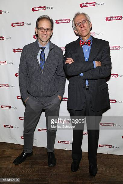 Director John Rando and playwright David Ives attend the 'Lives Of The Saints' Opening Night After Party at Tir Na Nog on February 24 2015 in New...
