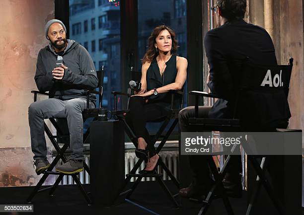 Director John Ridley and actress Felicity Huffman take part in the AOL BUILD Series Felicity Huffman and John Ridley American Crime season two at AOL...