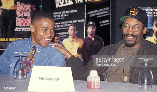Director John Singelton and actor Cuba Gooding Jr attending the press conference for 'Boyz N The Hood' on January 9 1992 at Sony Studios in Culver...