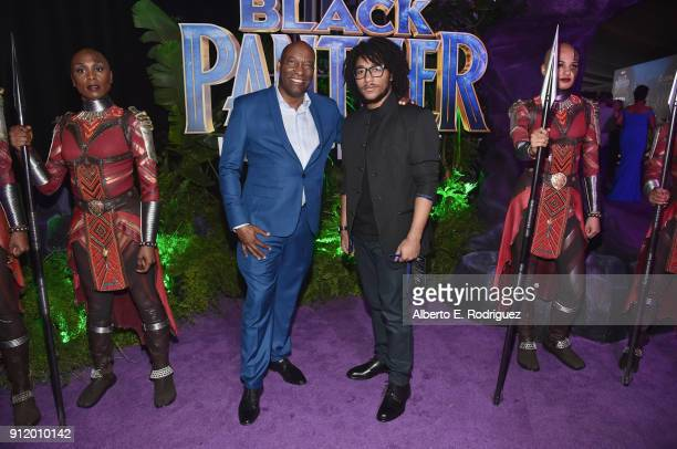Director John Singleton and Maasai Mohandas Singleton at the Los Angeles World Premiere of Marvel Studios' BLACK PANTHER at Dolby Theatre on January...