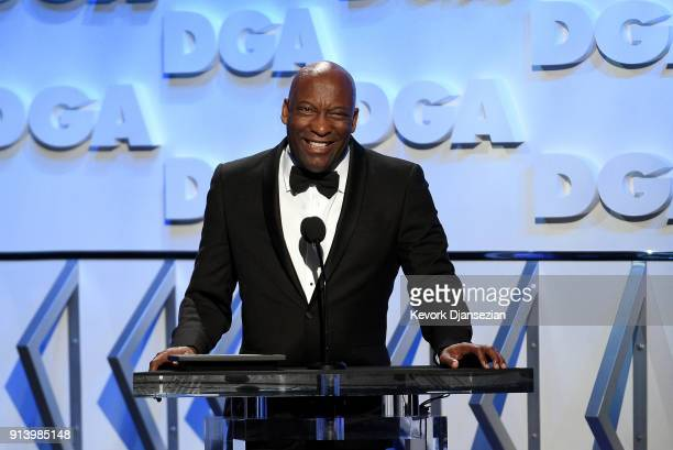 Director John Singleton speaks onstage during the 70th Annual Directors Guild Of America Awards at The Beverly Hilton Hotel on February 3 2018 in...