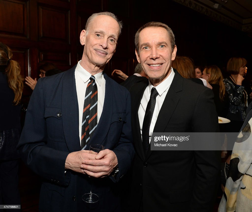 Director John Waters (L) and artist Jeff Koons attend the Dom Perignon Reception after The Un-Private Collection: Jeff Koons and John Waters in Conversation at Orpheum Theatre on February 24, 2014 in Los Angeles, California.