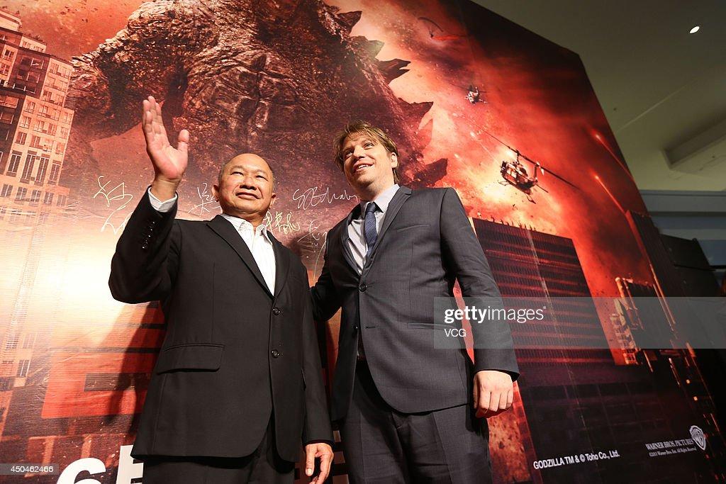 Director John Woo (L) and director Gareth Edwards attend 'Godzilla' premiere on June 11, 2014 in Beijing, China.