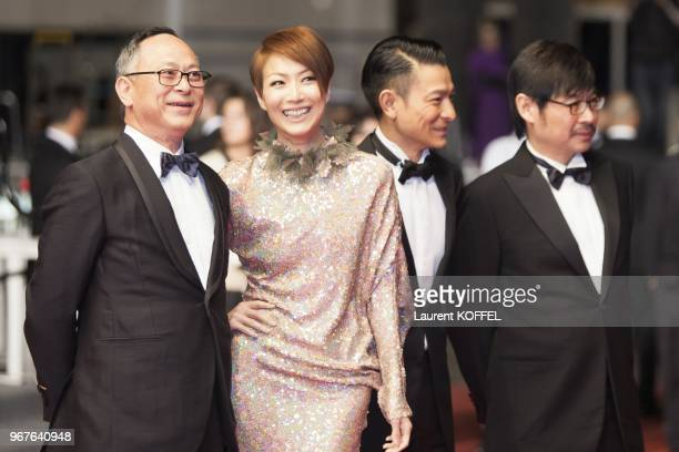 Director Johnnie To, actors Sammi Cheng, Andy Lau, and producer Wai Ka-Fai attend the 'Blind Detective' Premiere during the 66th Annual Cannes Film...