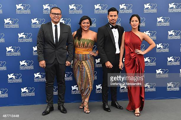 Director Joko Anwar actors Maera Panigoro Chicco Jerikho and Tara Basro attend a photocall for 'A Copy Of My Mind' during the 72nd Venice Film...