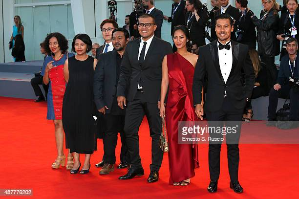 Director Joko Anwar actors Tara Basro and Chicco Jerikho attend a premiere for 'A Copy Of My Mind' during the 72nd Venice Film Festival at Sala...