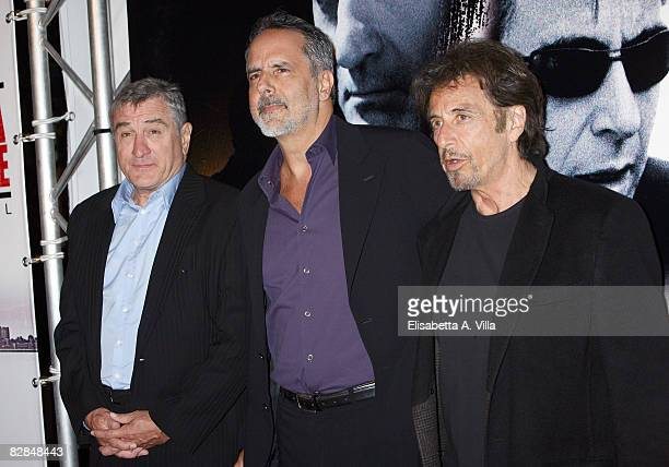 Director Jon Avnet and actors Robert De Niro and Al Pacino attend the 'Righteous Kill' premiere at the Warner Cinema Moderno on September 16 2008 in...