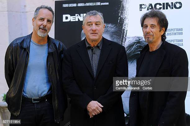 Director Jon Avnet with actors Robert De Niro and Al Pacino attend the premiere of 'Righteous Kill' in Rome