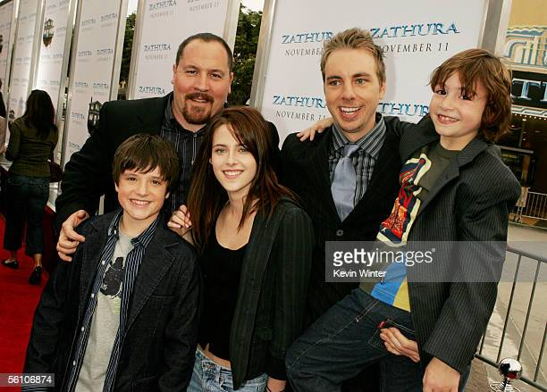 Director Jon Favreau and actors Josh Hutcherson Kristen Stewart Dax Shepard and Jonah Bobo pose at the premiere of Columbia Picture's Zathura A Space...