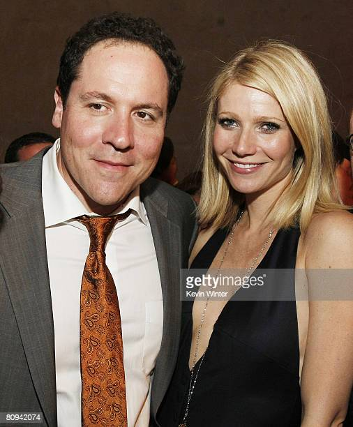 Director Jon Favreau and actress Gwyneth Paltrow pose at the afterparty for the premiere of Paramount's Iron Man at the Roosevelt Hotel on April 30...
