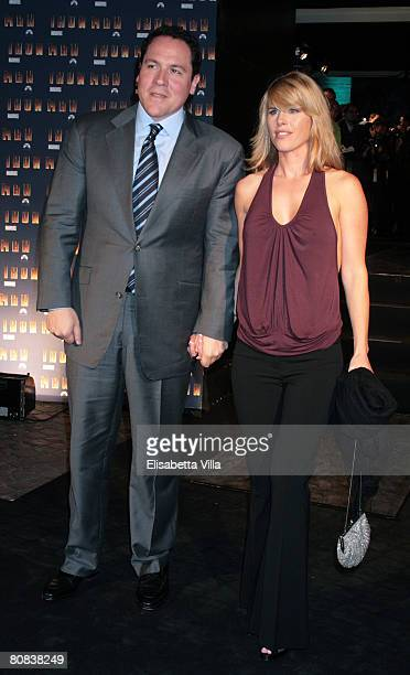 S director Jon Favreau and his wife Joya attend the 'Iron Man' premiere at Hassler Hotel on April 23 2008 in Rome Italy
