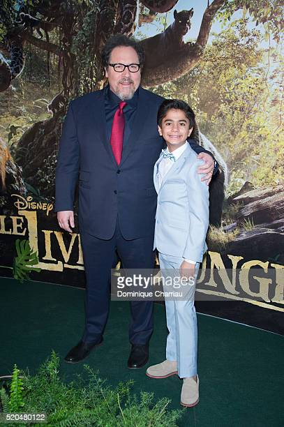 Director Jon Favreau and Neel Sethi attend the 'The Jungle Book' Paris Premiere at Cinema Pathe Beaugrenelle on April 11 2016 in Paris France