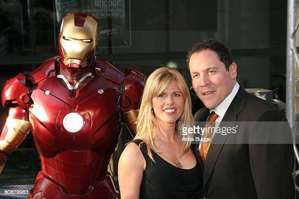 Director Jon Favreau and wife Joya Favreau attend the premiere of the movie 'Iron Man' at the Cinemaxx on April 22, 2008 in Berlin, Germany.