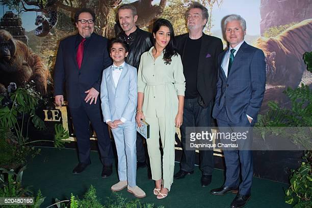Director Jon Favreau Neel Sethi Lambert Wilson Leila Bekhti Eddy Mitchell and producer Brigham Taylor attend the The Jungle Book Paris Premiere at...