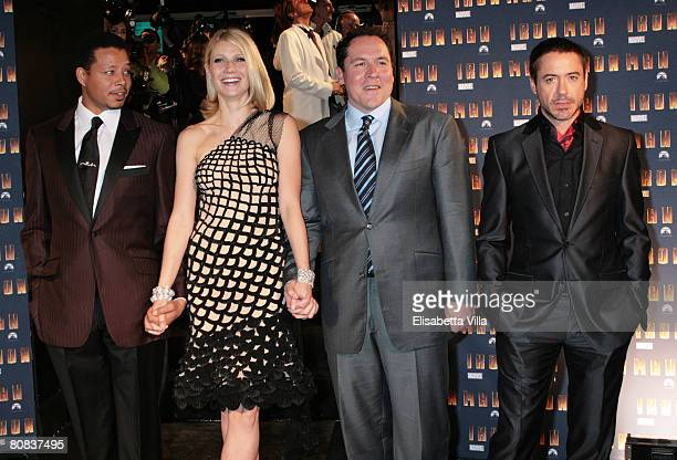 Director Jon Favreau with actors Terrence Howard, Gwyneth Paltrow and Robert Downey Jr. Attend the 'Iron Man' premiere at Hassler Hotel on April 23,...
