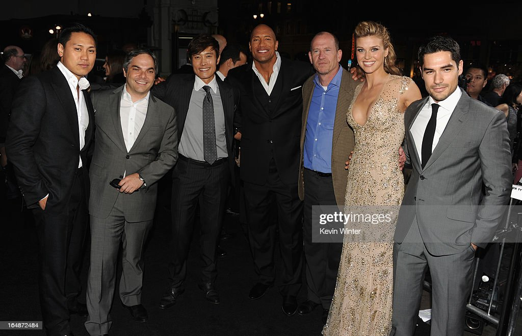 Director Jon M. Chu, President/ Paramount Film Group Adam Goodman, actor Byung-Hun Lee, actor Dwayne Johnson, Vice Chairman of Paramount Pictures Corporation Rob Moore, actress Adrianne Palicki and actor D.J. Cotrona attend the premiere of Paramount Pictures' 'G.I. Joe:Retaliation' at TCL Chinese Theatre on March 28, 2013 in Hollywood, California.