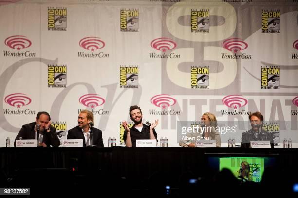 "Director Jon Turteltaub, Actor Nicolas Cage, Actor Jay Baruchel, Actress Teresa Palmer and Producer Jerry Bruckheimer attends ""The Sorcerer's..."