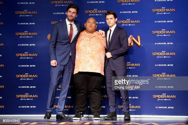 Director Jon Watts Tom Holland and Jacob Batalon attend the 'SpiderMan Homecoming' Seoul Premiere at Yeongdeunpo Times Square on July 2 2017 in Seoul...