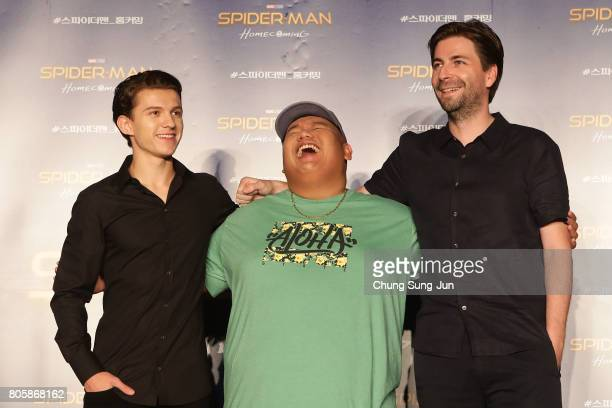 Director Jon Watts Tom Holland and Jacob Batalon attend the 'SpiderMan Homecoming' press conference at Conrad Seoul Hotel on July 3 2017 in Seoul...