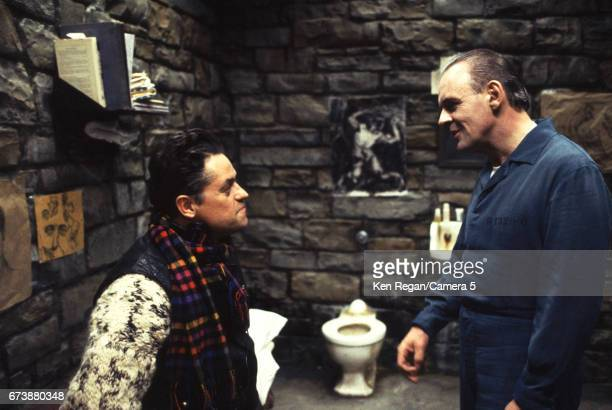 Director Jonathan Demme and actor Anthony Hopkins are photographed on the set of 'The Silence of the Lambs' in 1989 around Pittsburgh Pennsylvania...