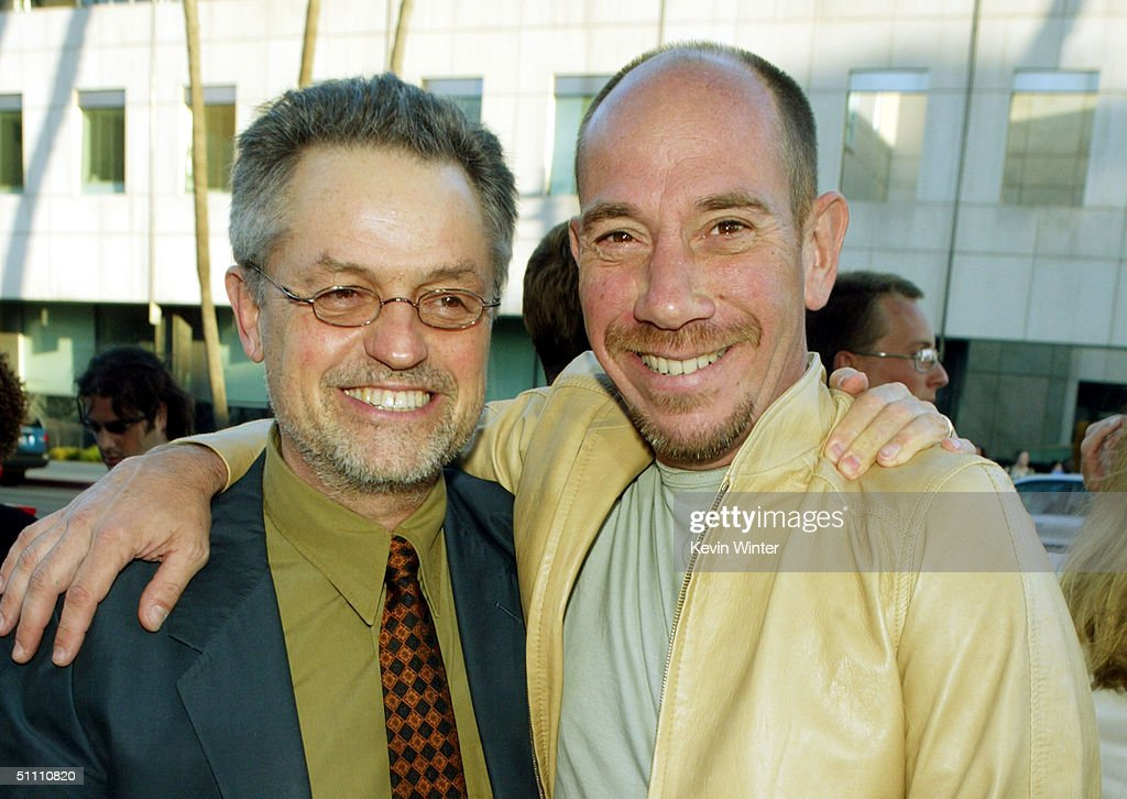 Director Jonathan Demme (L) and actor Miguel Ferrer pose at the premiere of Paramounts' 'The Manchurian Candidate' at the Samual Goldwyn Theater on July 22, 2004 in Beverly Hills, California.