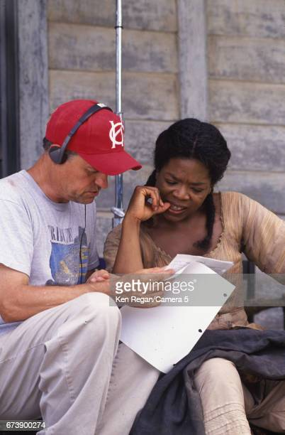 Director Jonathan Demme and actress Oprah Winfrey are photographed on the set of 'Beloved' in the fall of 1997 in Fair Hill Maryland CREDIT MUST READ...