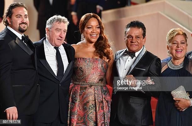 director Jonathan Jakubowicz actor Robert de Niro and his wife Grace Hightower Roberto Duran and Felicidad Durran attend the screening of Hands Of...