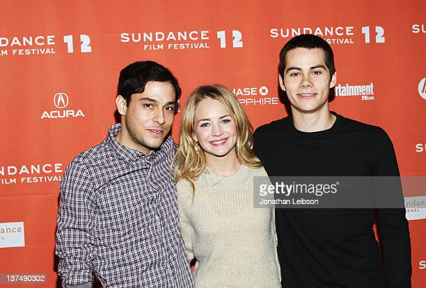 Director Jonathan Kasdan and actors Britt Robertson and Dylan O'Brien arrive at The First Time Premiere during the 2012 Sundance Film Festival at...