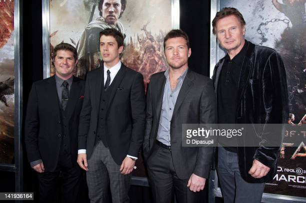 "Director Jonathan Liebesman, actors Toby Kebbell, Sam Worthington, and Liam Neeson attend the ""Wrath of the Titans"" premiere at the AMC Lincoln..."