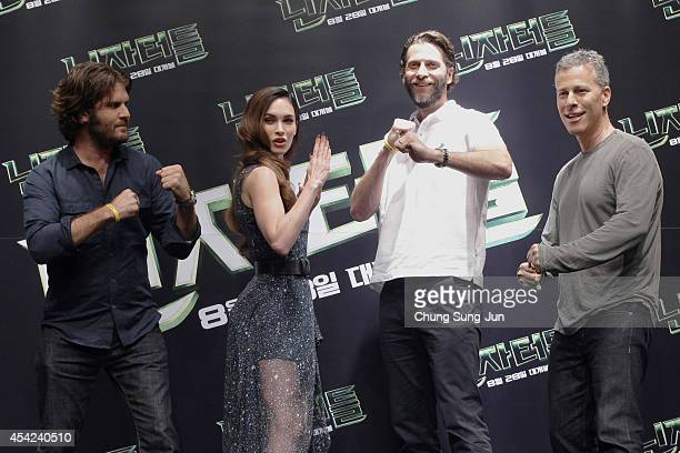 Director Jonathan Liebesman Actress Megan Fox Producer Andrew Form and Producer Brad Fuller attend the Press Conference of Paramount Pictures'...