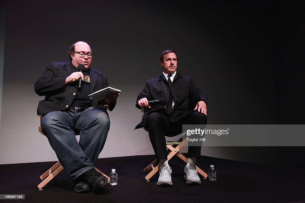 Director Jordan Hoffman and director David O. Russell (R) speak at Apple Store Soho on November 13, 2012 in New York City.