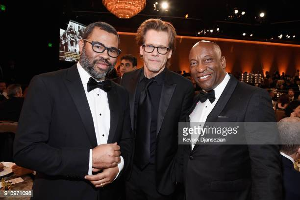 Director Jordan Peele actor Kevin Bacon and director John Singleton pose during the 70th Annual Directors Guild Of America Awards at The Beverly...